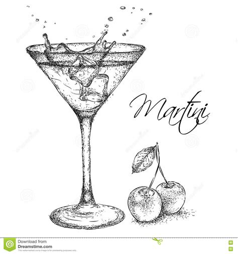 martini drawing hand drawn martini cocktail in glass with cherry vector