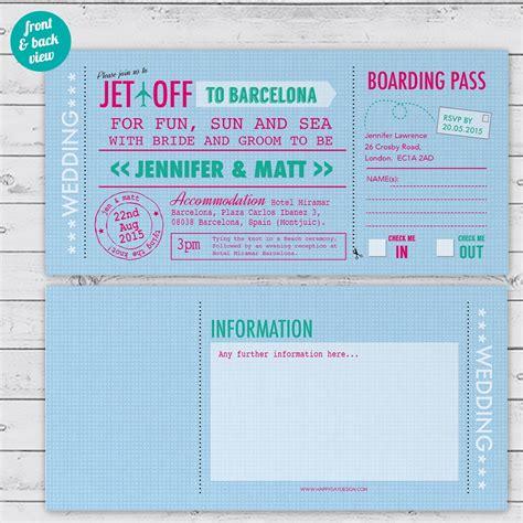 travel ticket wedding invitations uk modern travel ticket wedding invitation