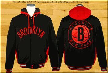 jacket design with hood brooklyn nets reversible fleece mens black and red jacket