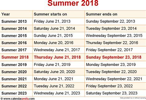 Calendar 2018 Summer When Is Summer 2018 2019 Dates Of Summer