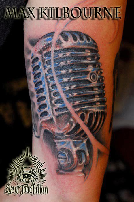 microphone realistic tattoo vintage realistic microphone tattoo max kilbourne by