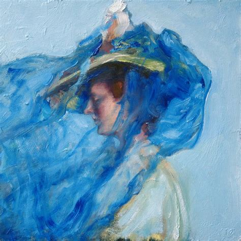 the blue veil k schlueter painting mixed media the blue