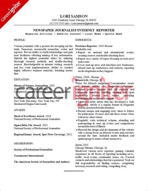 journalist resume sle resume
