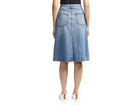 whistles button front denim a line skirt in blue lyst