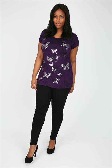 Sleeve Dip Back T Shirt purple and black sleeve foil butterfly print dip