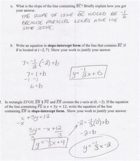 Writing Equations Of Parallel And Perpendicular Lines Worksheet by Writing Equations For Parallel Lines Cpalms Org