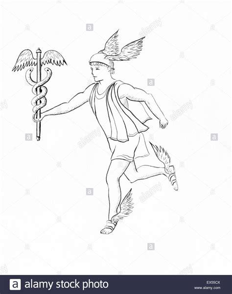 doodle draw fb messenger line drawing of hermes mercury ancient messenger god