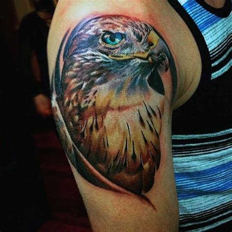 eagle tattoo upper arm real photo like colorful detailed eagle tattoo on upper
