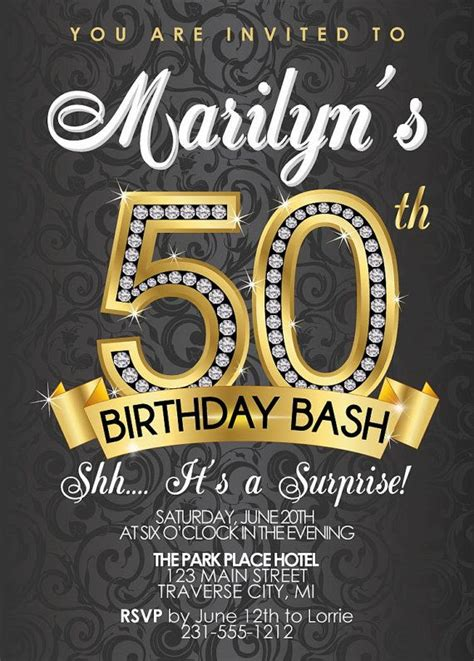50th birthday invitation birthday invitation 50th birthdays