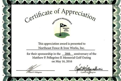 certificate of appreciation for sponsorship template nf i recieves award northeast fence ironworks inc