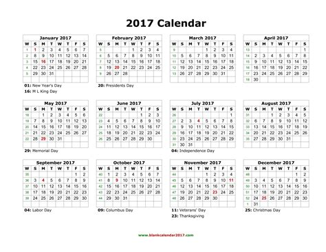 Printable Yearly Calendar 2017 With Holidays Blank Calendar 2017