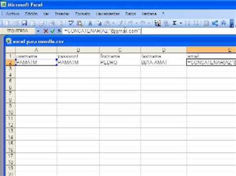 csv format moodle moodle subir usuarios con un fichero csv youtube