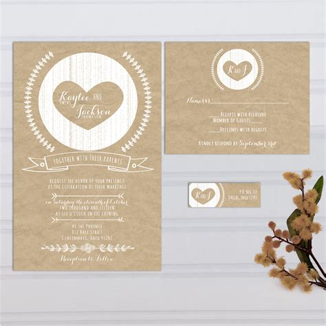 Wedding Invitations Kraft Paper by Kraft Paper Look Wedding Invitations With Rsvp Cards And