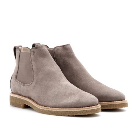 grey chelsea boots womens tod s suede chelsea boots in gray fango chiaro made in
