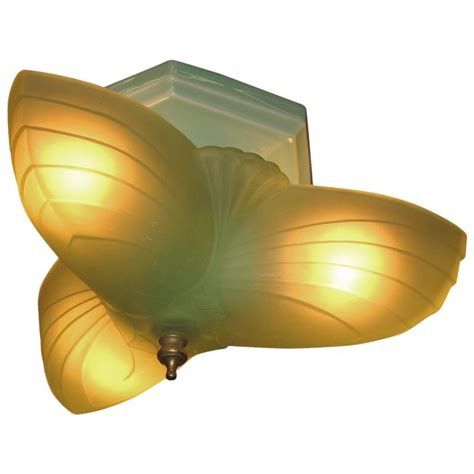 Green Light Fixtures Revival Three Light Green Flush Mount Fixture 1920s For Sale At 1stdibs