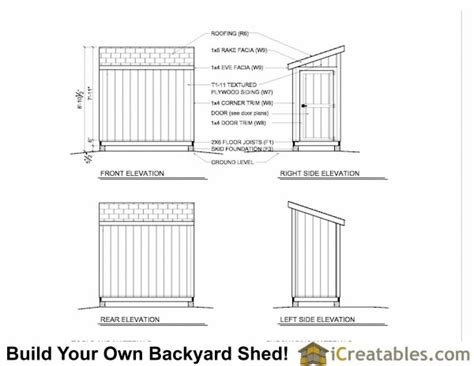 lean  shed plans build   shed icreatables