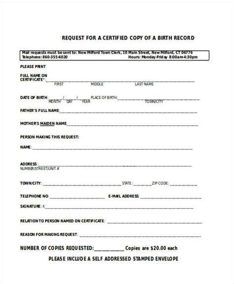 birth certificate letter request certificate forms in word