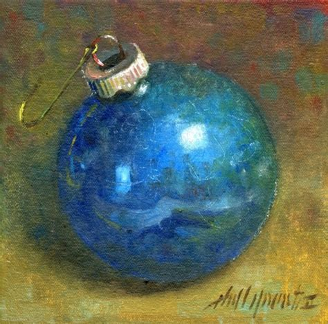 blue christmas ornament 6 x6 oil on canvas original