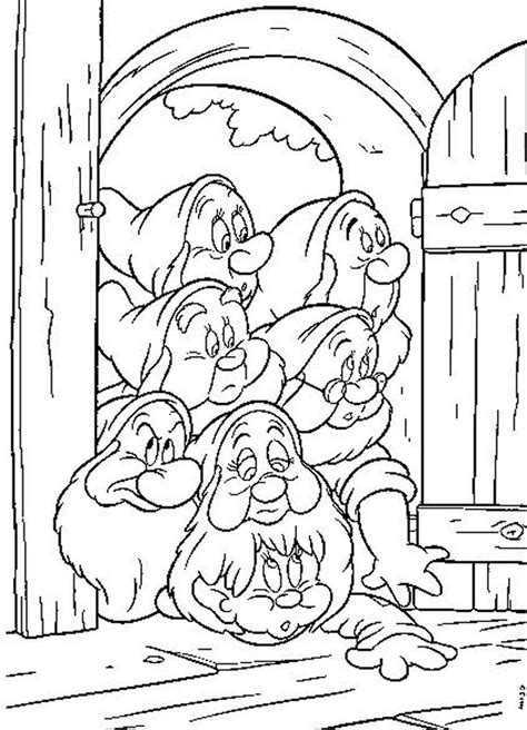 snow white and 7 dwarfs free printable coloring sheet