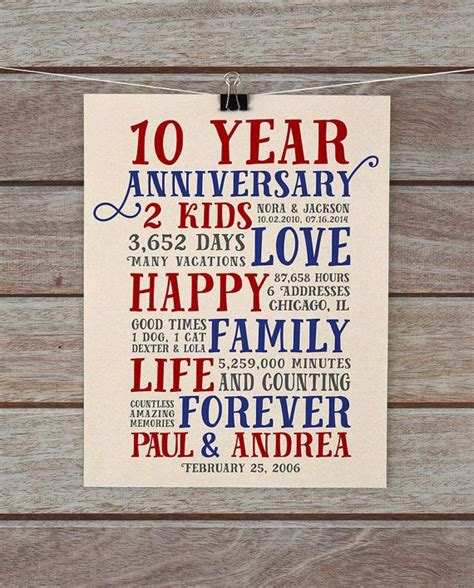 personalized anniversary gift ideas 10th anniversary