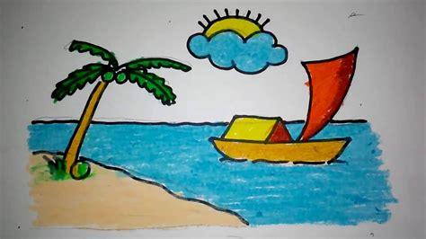 contoh storytelling untuk anak sd terbaru cara mudah cara menggambar pemandangan pantai youtube