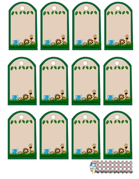 printable jungle labels jungle baby shower favor tags 1 png 612 215 792 pixels baby