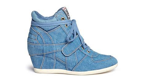Sneaker Wedges Ash Denim ash bowie denim concealed wedge sneakers in blue lyst