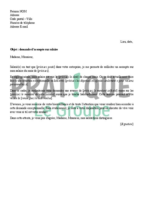 Exemple De Lettre Demande De Salaire Lettre De Demande D Acompte Sur Salaire 224 Employeur Pratique Fr