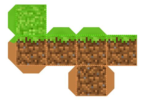 Minecraft Grass Block Papercraft - minecraft on minecraft mask template and creepers