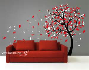 Red Wall Art Stickers Blowing Tree Wall Decal Wall Sticker Vinyl Art By