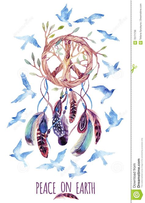 watercolor ethnic dream catcher and peace sign stock