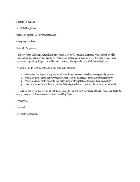 Product Inquiry Letter | Templates at allbusinesstemplates.com