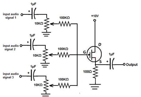 Pcb Mixer Audio fet audio mixer schematic fet op microphone mixer