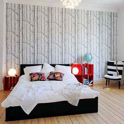 black and white wallpaper bedroom design decorating walls unusual methods wall decorating paintings