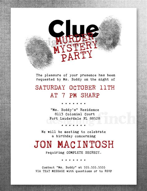 clue birthday invitation murder mystery party customizable
