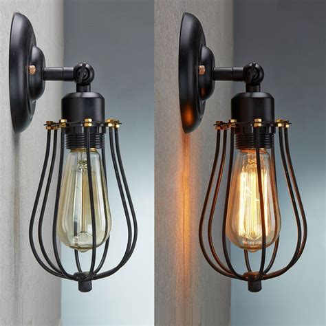 Industrial Wall Light Fixture Vintage Industrial Loft Rustic Cage Sconce Wall Light Wall L Fixture Ebay