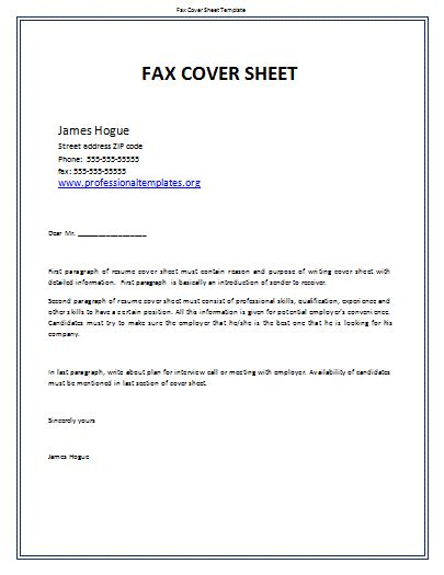 fax cover sheet template share the knownledge