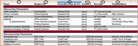 Church Accounting Spreadsheet Templates by 4 Church Accounting Spreadsheet Templates Excel