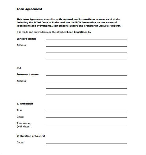 blank template sle of personal loan agreement between