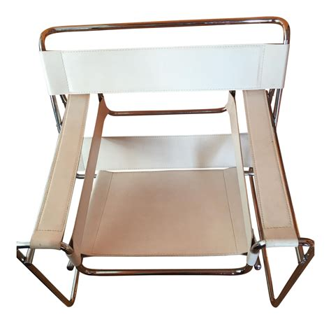 white mid century modern chair mid century modern white leather wassily style chair