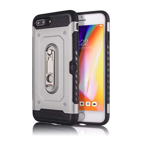 wholesale iphone 8 plus 7 plus rugged kickstand armor with card slot silver