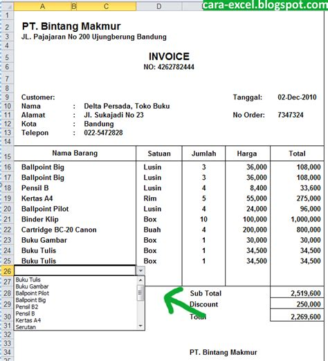 contoh invoice excel tips excel