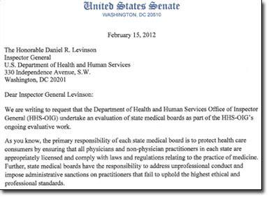 Inquiry Letter To Hospital Senators Request Inquiry Into State Boards