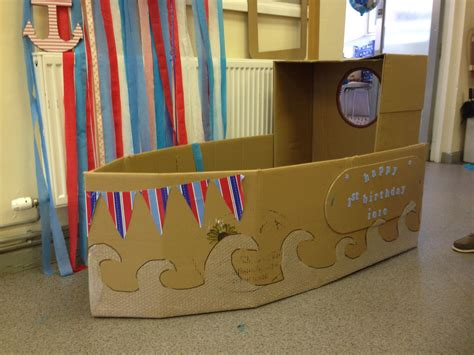 on a boat theme child s cardboard boat sailor theme kids party boat