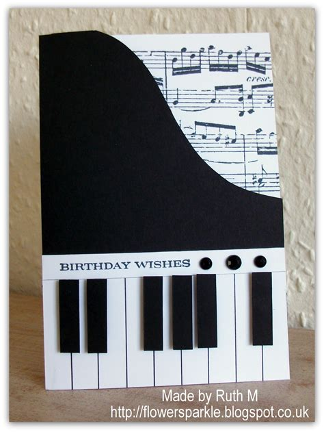 Handmade Piano - flower sparkle piano birthday wishes card for alan