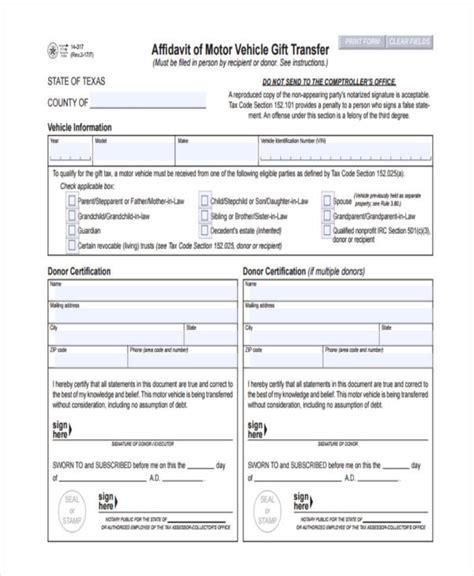 Gift Letter Vehicle Transfer affidavit of motor vehicle gift transfer impremedia net