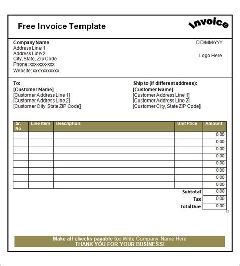free blank invoice template excel word invoice template studio design gallery best