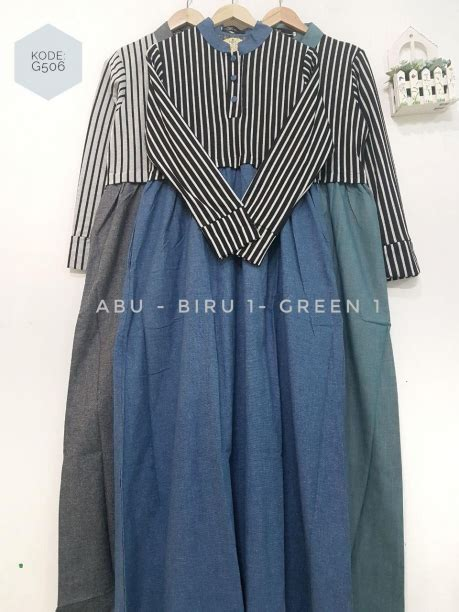 Dress Salur Biru 2 7thn saffa dress salur g506 griya hijab