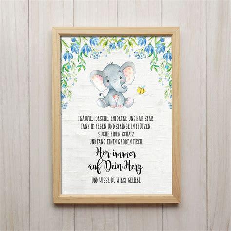 spruche kinderzimmer bild details zu h 246 r auf dein herz kunstdruck din a4 elefant