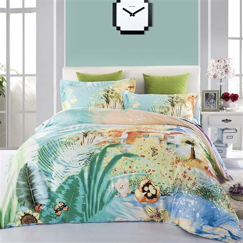 Hawaiian Bed Set Teal Blue And Yellow Luxury Tropical Hawaiian Theme Butterfly Garden Images 100 Cotton Satin